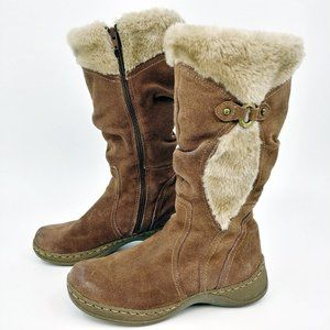 BareTraps Ellery Tan Leather Boots Faux Fur Lining